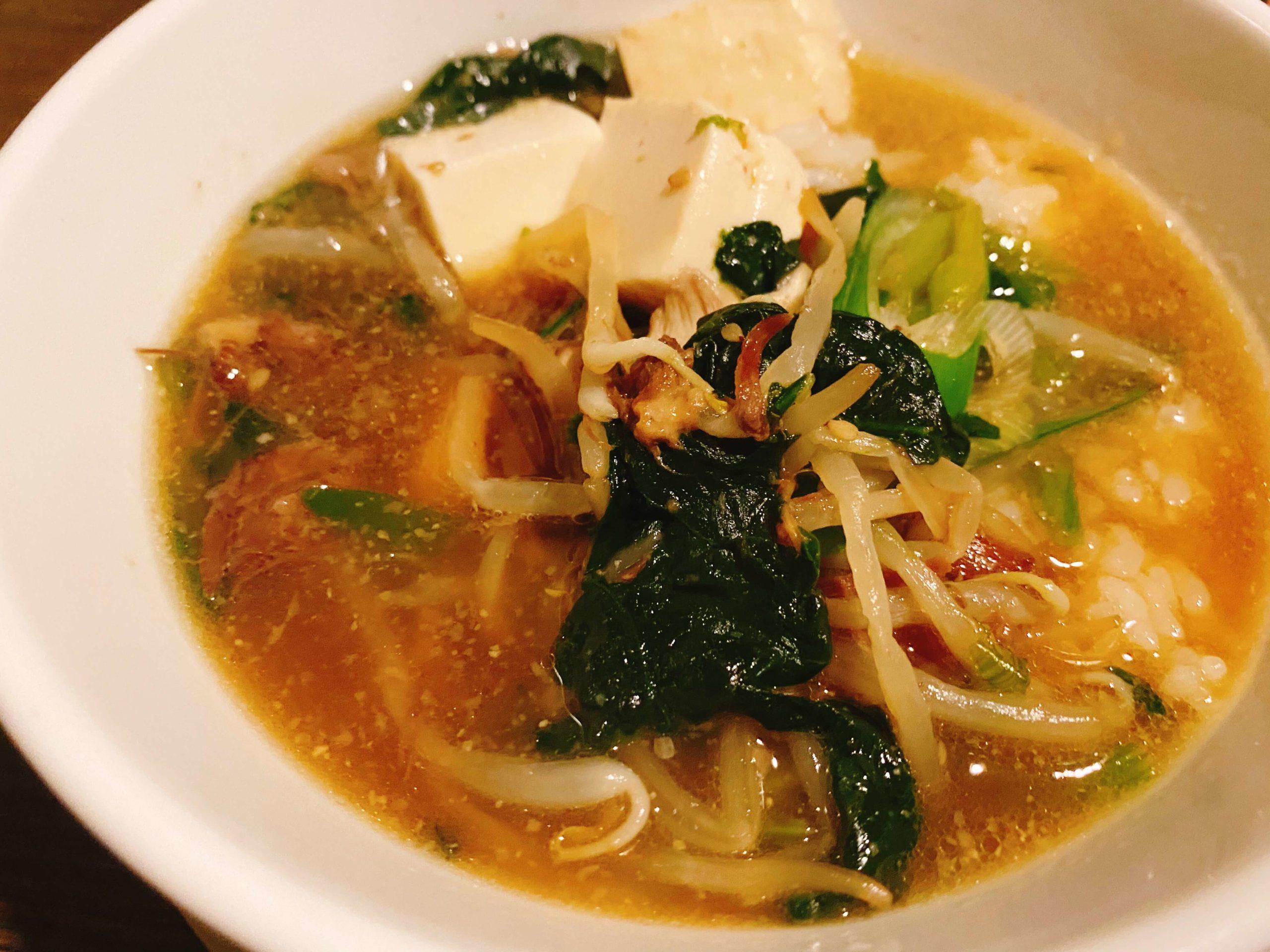味樹園のベジテールスープの雑炊