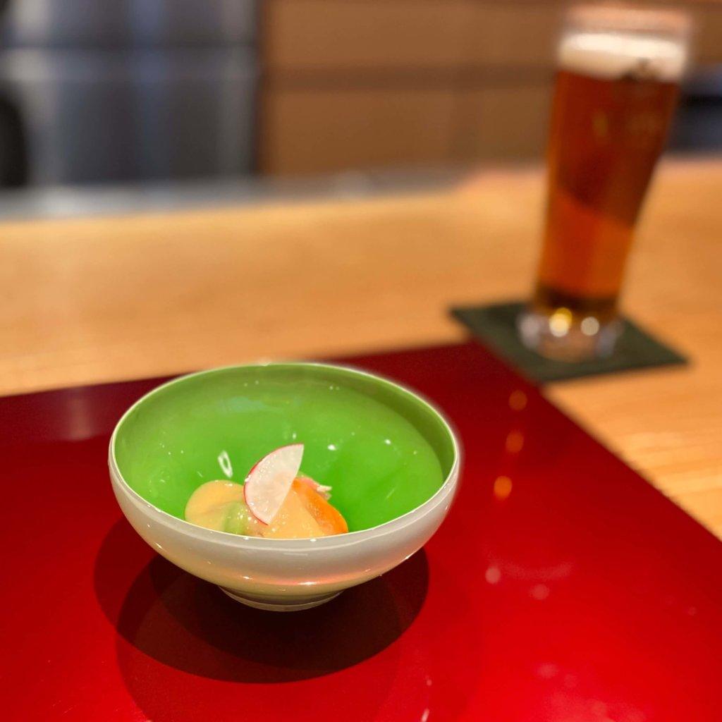 赤貝とそら豆などの酢味噌かけ